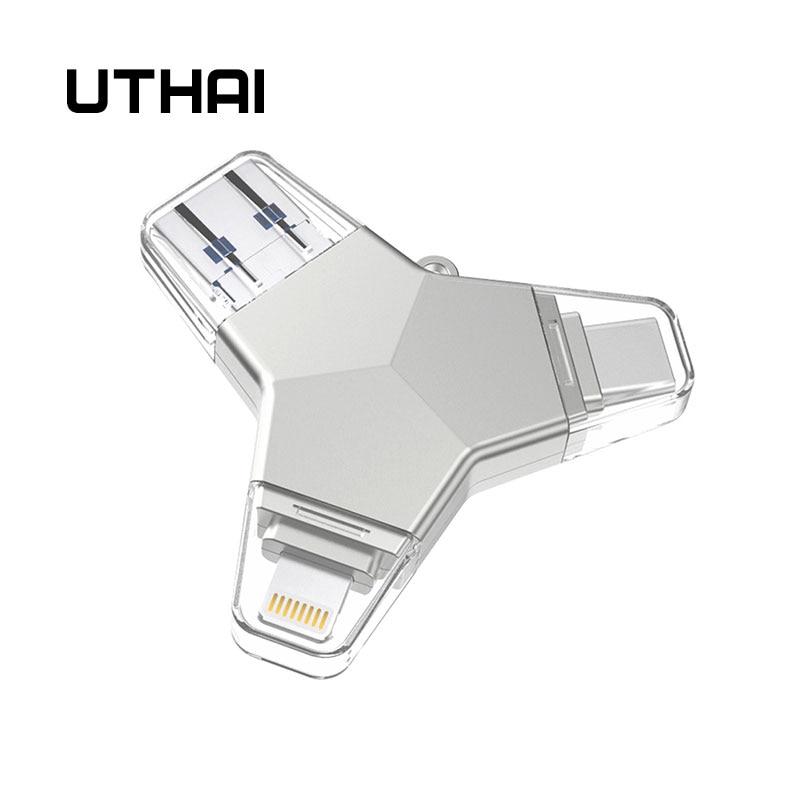 Lecteur Flash USB UTHAI T82 4 en 1 type-c/Lightning/Micro USB/USB 3.0 pour iPhone métal 64GB 32GB 128GB lecteur de stylo