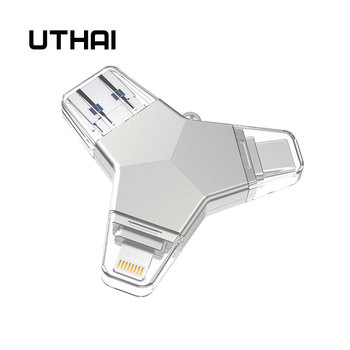 UTHAI T82 USB Flash Drive 4 in 1 Type-c/Lightning/Micro USB/USB 3.0 Voor iPhone Metalen 64 GB 32 GB 128 GB Pen Drive