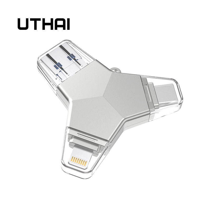 UTHAI T82 USB3.0 Metal Flash Drive 4in1 For IPhone Pen Drive Type-c/Lightning/MicroUSB/USB3.0 Metal U Disk 64GB 32GB 128GB