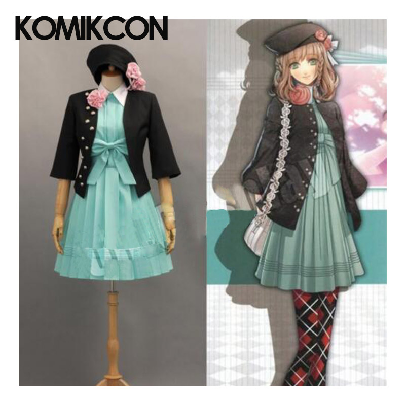 AMNESIA Heroine Cosplay Costume Woman Party Dress Black Coat+Hat+Green Princess Flowers Dresses Full Set