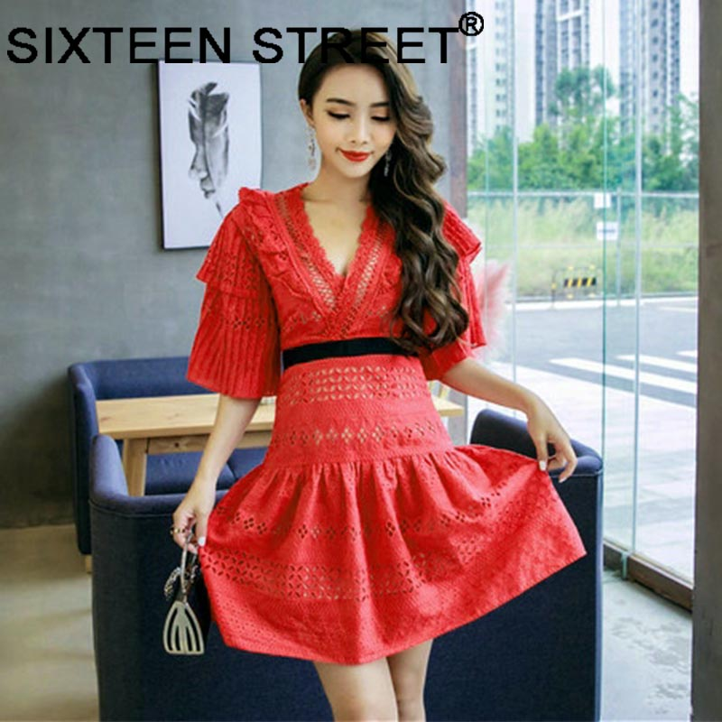 2018 New autumn red lace dress woman V neck hollow out sexy elegant white mini dress flare sleeve runway vestidos bodycon female