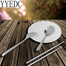 3Pcs Stainless Steel Portable Tableware Dinnerware for Travel Camping
