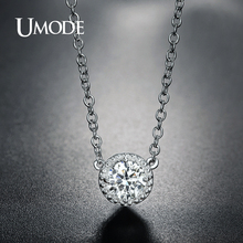 UMODE Fashion Round CZ Crystal Link Chain Pendant Necklaces for Women Zirconia White Gold Color Jewelry Colar Bijoux AUN0236