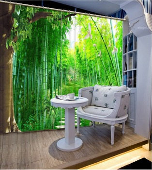 2017 New green Bamboo Curtains Polyester Sheer Curtains For The Living room forest path landscape 3D Curtain Home Decor
