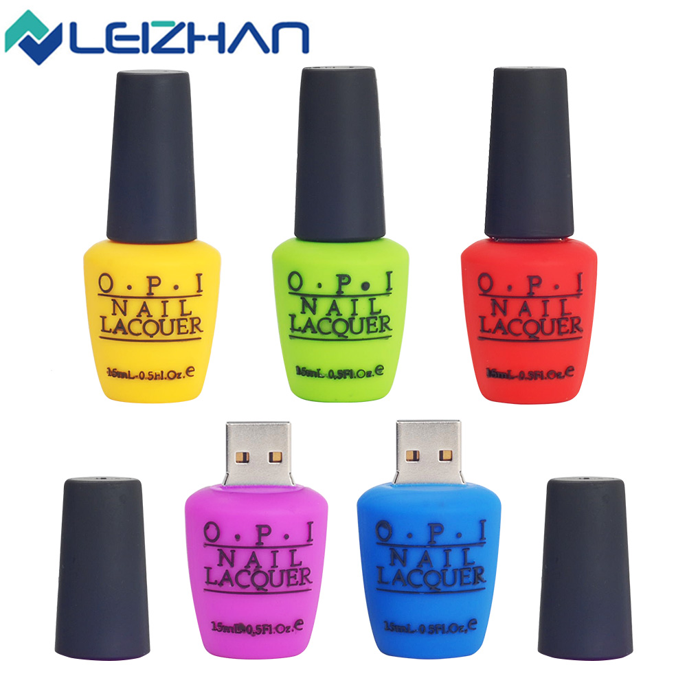 2018 USB Flash Drive Nail Lacouer 32GB Silicone 16GB Pen Drive 8GB 2.0 Pendrive Girls Special Gift Laptop Memory U Disk 64GB