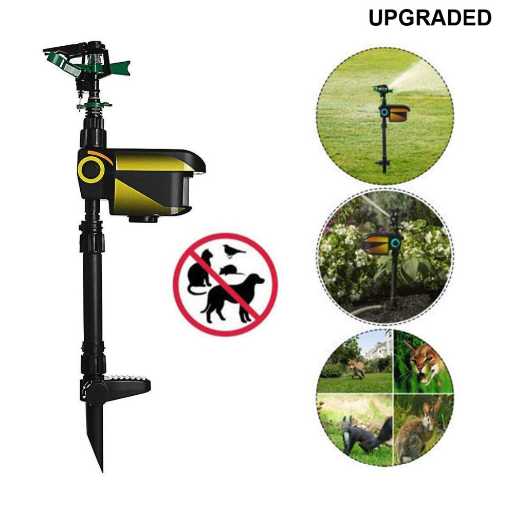 UPGRADED Solar powered Motion Activated Animal Repeller Garden Sprinkler Scarecrow Animal Deterrent