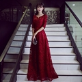 2017 New Custom-made Long Red Evening Dress Boat Neck A-line Three Quarter Lace Up Bride Dress