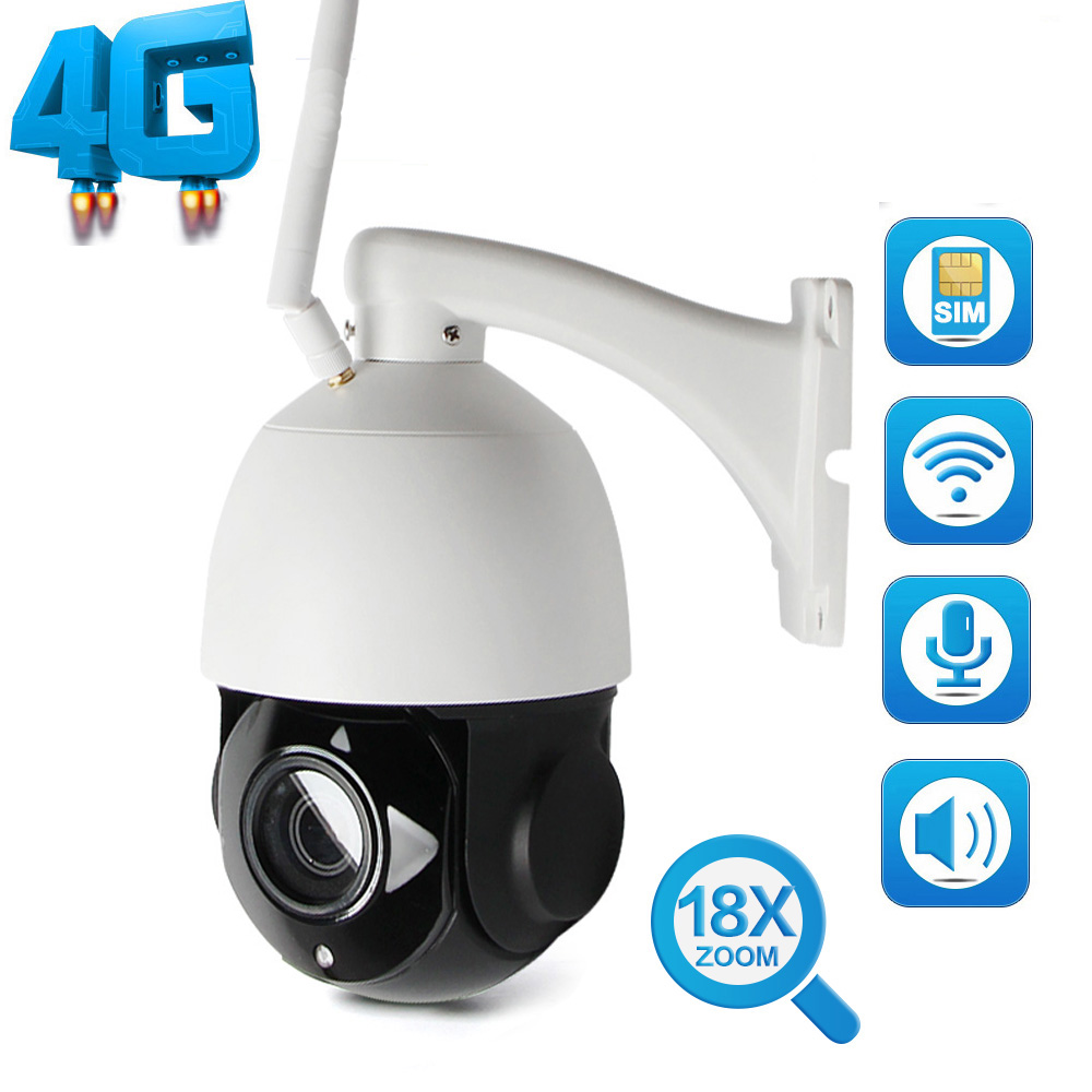 HD 1080P WIFI CCTV Camera Outdoor 3G 4G SIM Card Camera Speed Dome IP Camera Wi-Fi 18X Zoom SD Card PTZ Cam Audio Talk Speaker wi fi мост ubiquiti litebeam 5ac 23 lbe 5ac 23 eu