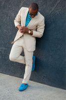 Designs Coat Pant mới nhất Màu Trắng Kem Men Suit Lỏng Chính Thức Stylish Wedding Đảng Blazer Tùy Chỉnh Prom Tuxedo 2 Cái Vestidos 12