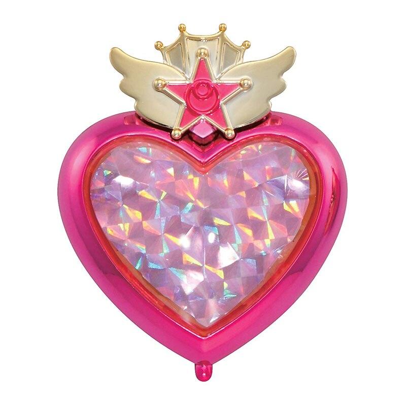 1 шт. гашапон Сейлор Мун трансформирующая компактная Хрустальная звезда компактное космическое сердце компактная брошь набор ювелирных изделий чехол игрушки - Цвет: Pink Moon Stick