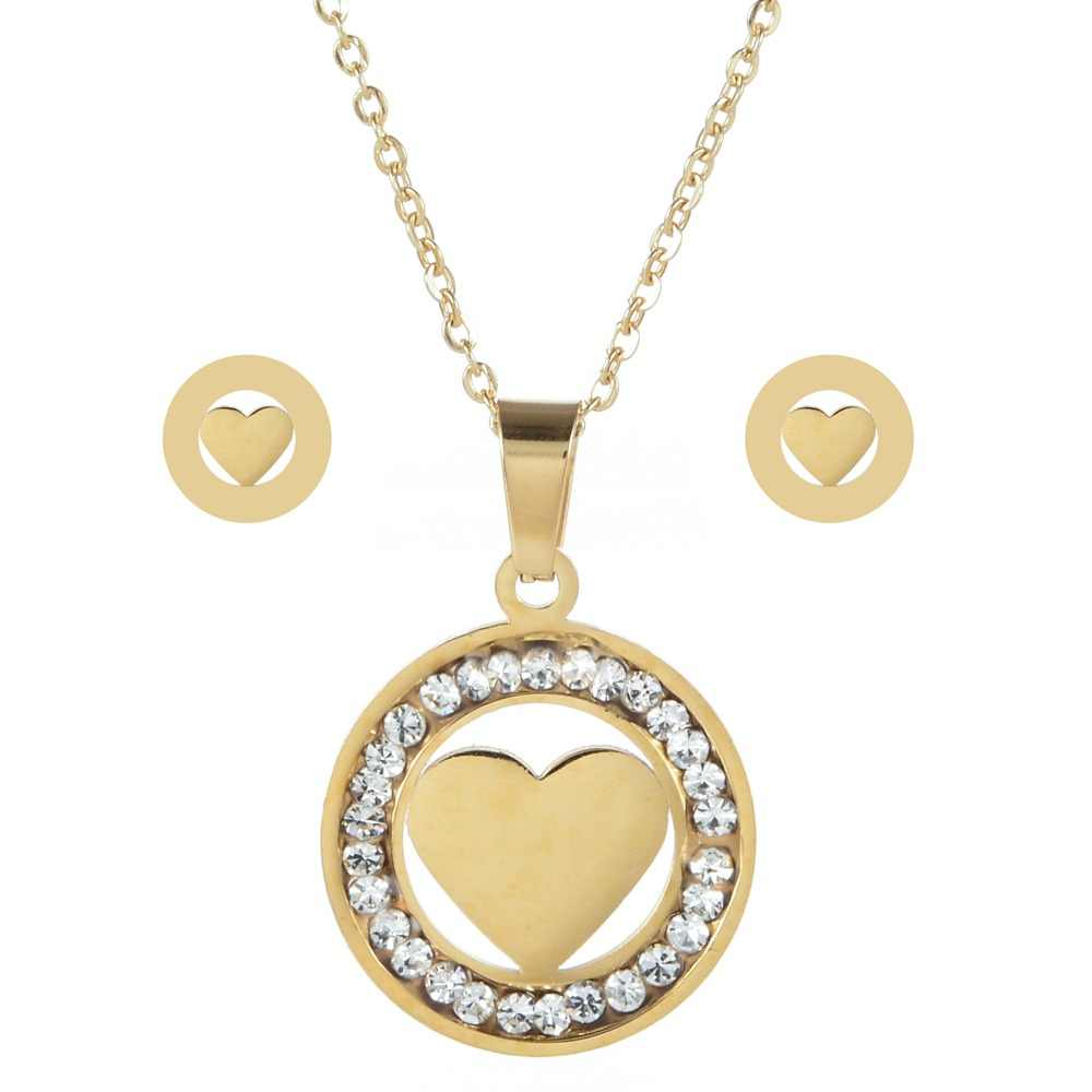 LUBINGSHINE Luxury Gold Color Women Love Heart Owl Tree of life Necklace Earrings Stainless Steel Bridal Wedding Jewelry Sets