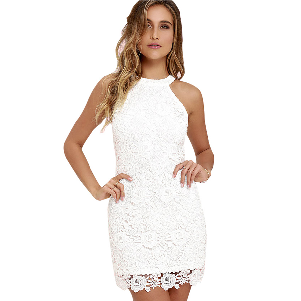 Buy Berydress Cute Women Sexy Halter Neck Sleeveless Prom Homecoming Floral Lace Sheath Bodycon Mini Lace Dress Short Vestidos