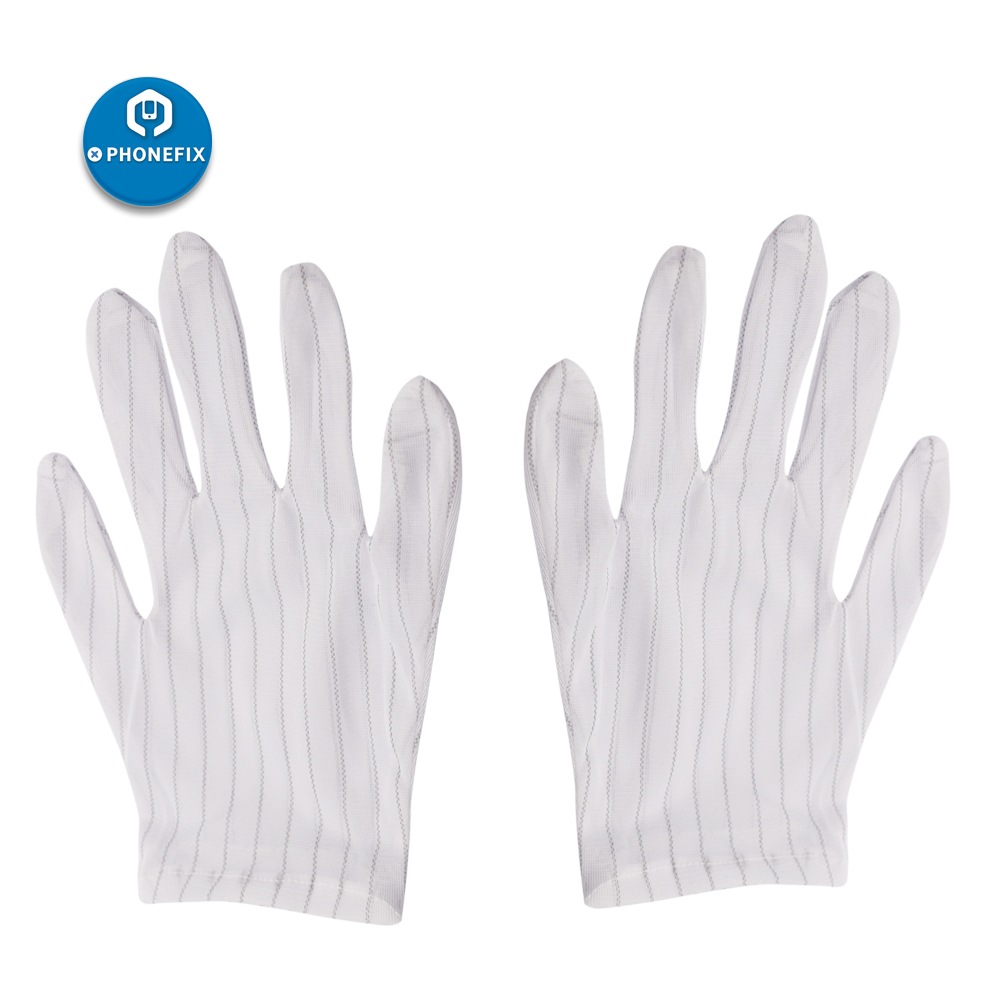 PHONEFIX Anti-static Anti-skid Gloves Striped PC Computer Phone Working Repair Safe Glove For Phone PCB Repair Finger Protection