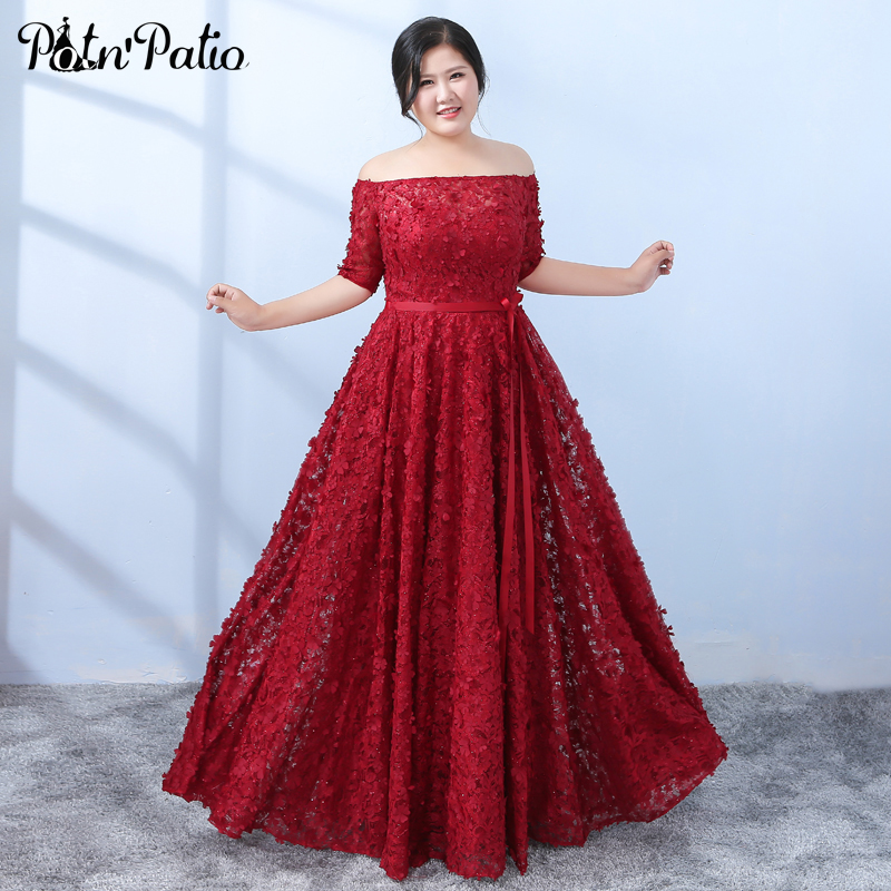 Elegant Boat Neck Off The Shoulder Flower Lace Prom Dresses Long 2019 Plus Size A-line Floor-length Wine Red Formal Dresses
