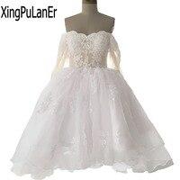 XingPuLanEr от плеча кружева аппликация Мини Короткие свадебное платье с длинным рукавом с плеча зашнуровать свадебное платье плюс Размеры
