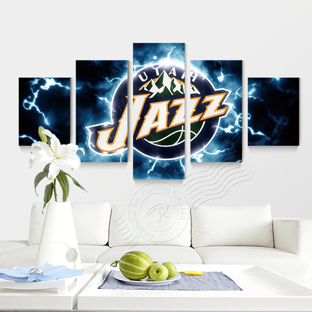5 panneau mural art sport logo affiche utah jazz jeu de basket ball maison decoraction