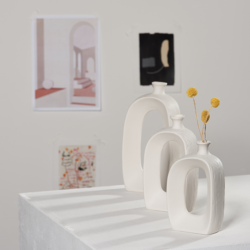 Ins Modern White Ceramic Dried Flower Vase Small Fresh