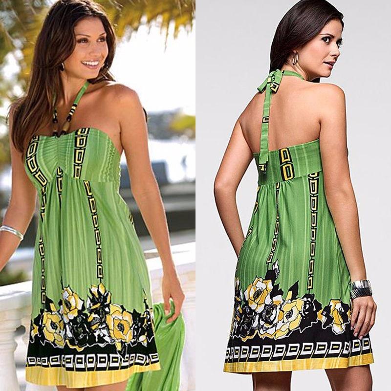 Tittok Summer dress women 2017 dress with print beach dresses Sleeveless sexy floral print maxi dresses above knee T092 3