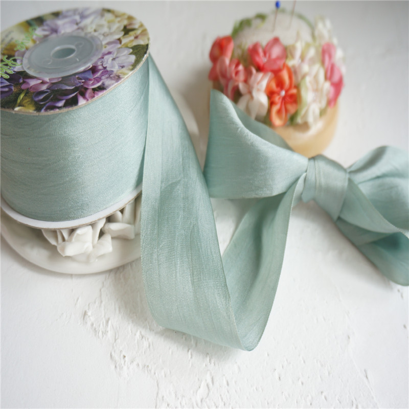Pure Silk Embroidery Ribbon WHITE 13mm wide by the yard