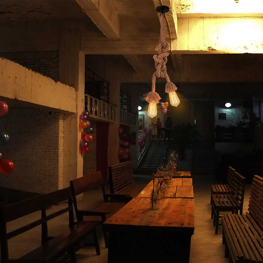 2,35 м Винтаж ретро люстра из пеньковой веревки, люстра, подвесные светильники E27 Эдисон лампы для кафе для Гостиная настенные светильники