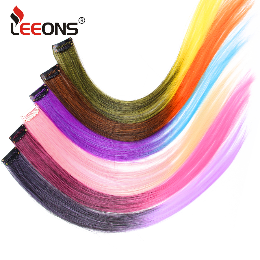 Leeons Highlight Synthetic Hair Extensions Clip In One Piece Color Strips Straight