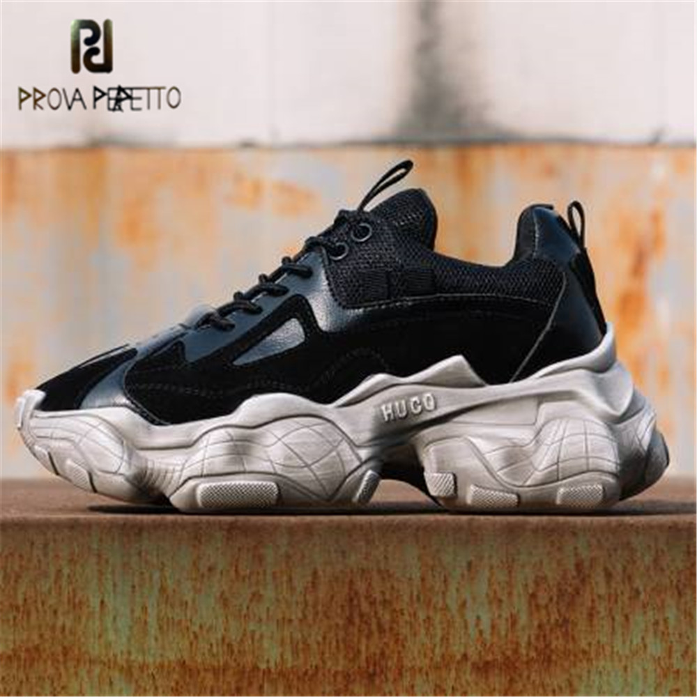 Prova Perfetto 2019 Top Quality Genuine Leather Sneakers Women Flats Platforms Punk Rock Casual Shoes Thick
