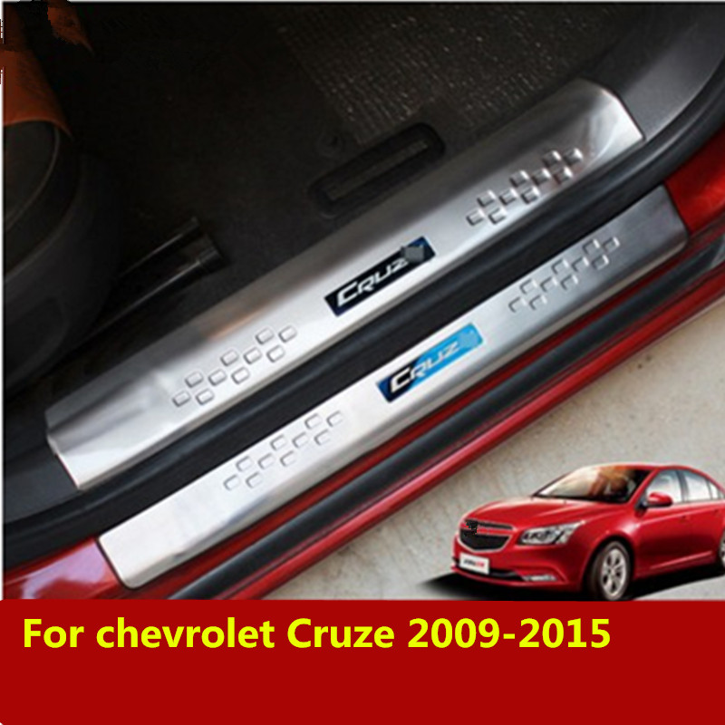 Car Styling Stainless Steel ACCESSORIES For Chevrolet Cruze 2009-2015 Door Scuff Sill Plates Kick Step Entry Trim Cover Plate