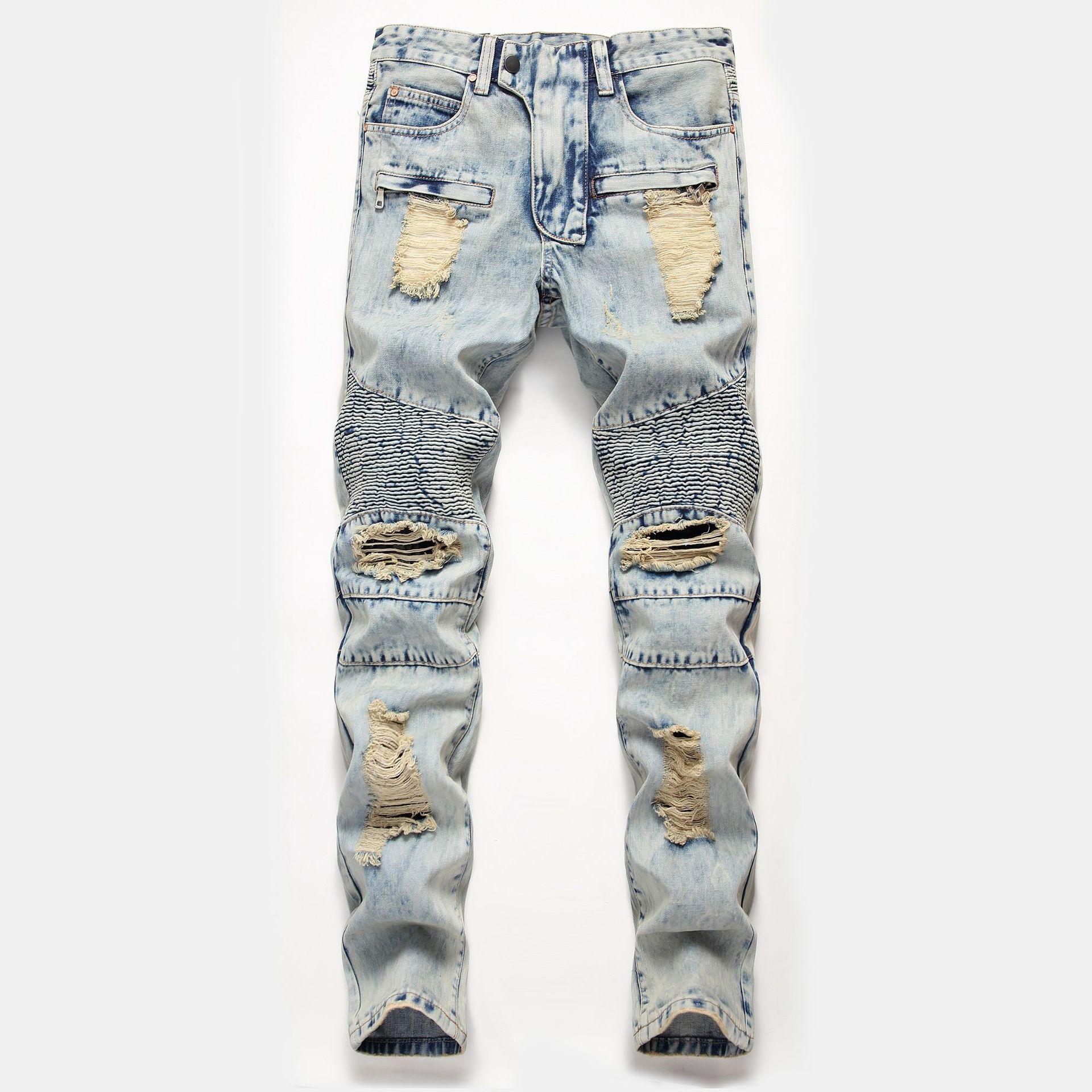 Hommes jean bleu clair Jeans Déchiré Slim Fit Jambe Droite Pantalon Pantalon grande taille A849q84