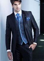 FOLOBE Custom Made New Style Người Đàn Ông Tốt Nhất Màu Xanh Hải Quân Tuxedo Rễ Phụ Suits Suits Cưới của Men Phù Hợp Với hình Thức Men Blazers