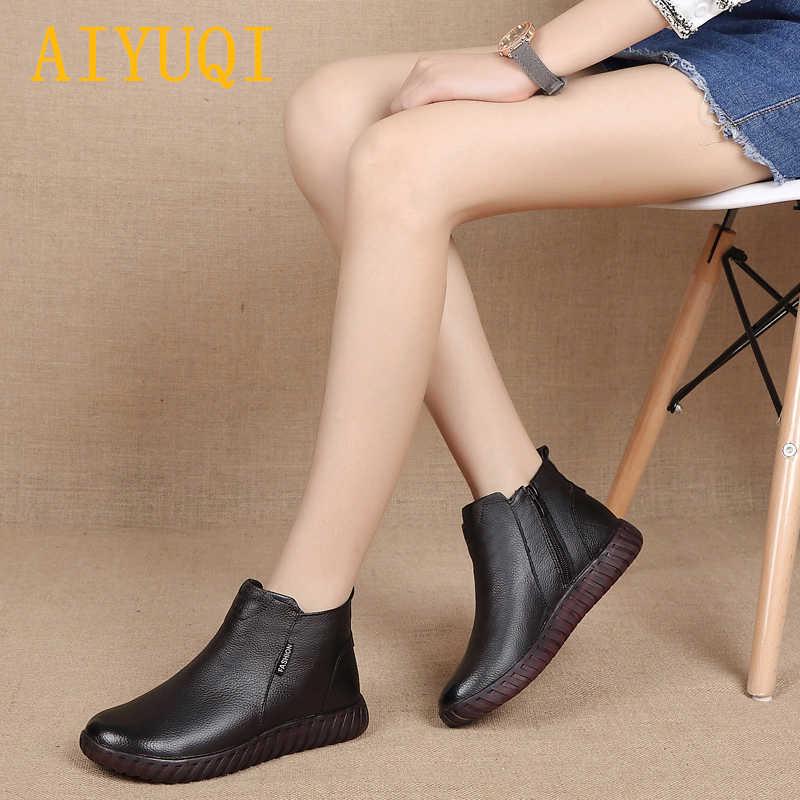 AIYUQI sonbahar ve kış yeni hakiki deri bayan botları kadın düz rahat yumuşak alt artı kadife sıcak yarım çizmeler kadın