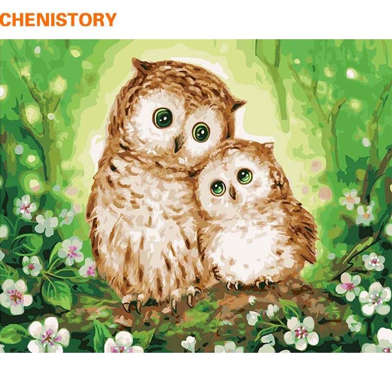 CHENISTORY Owl Lover Pittura di DIY Dai Numeri Moderna Della Parete Della Pittura Della Decorazione Della Casa Dipinta A Mano della Pittura A Olio Per Soggiorno Regalo