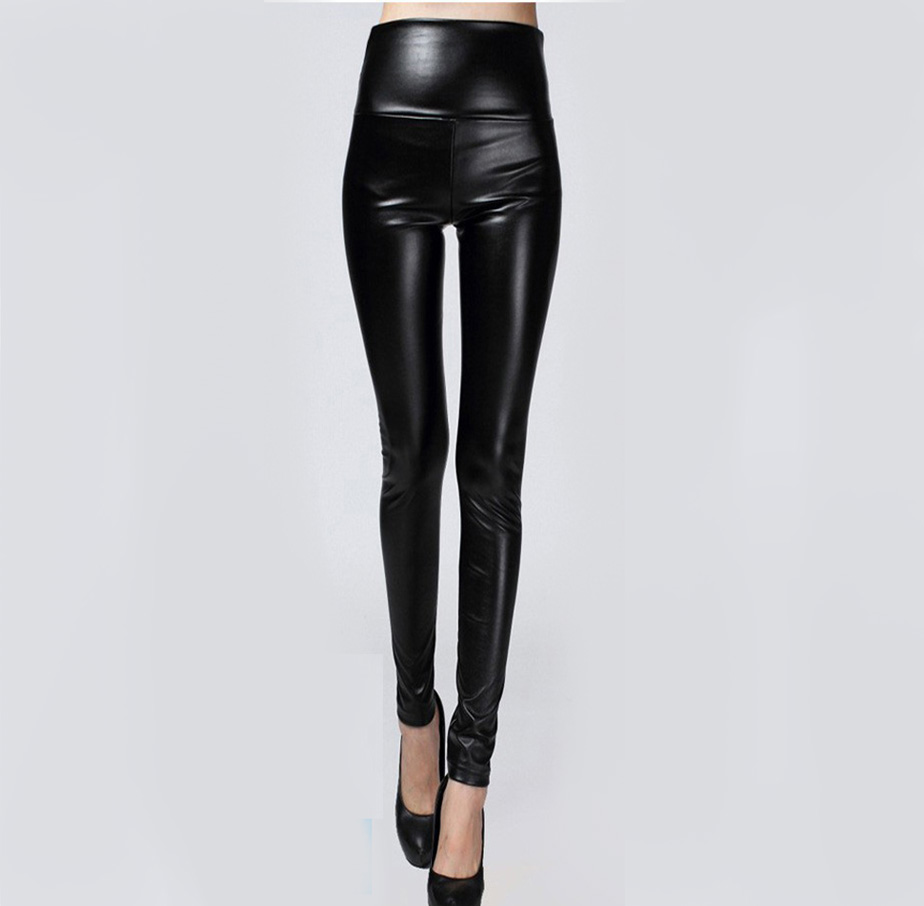 Hot Sale Autumn Winter Women Clothes Skinny PU Leather Pensil Legging Sexy Thin Fleece Pants Ladies Slim Slim Leather Pants