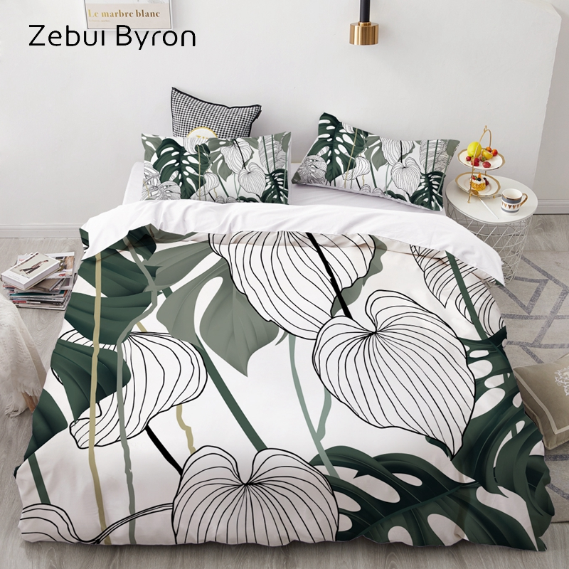 3D HD Print Bedding Set Custom/King/Europe/USA,Duvet Cover Set Single/Double/Queen/King,Quilt/Blanket Cover Set Bedclothes Leaf