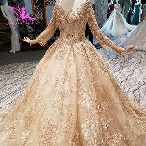 Image 4 - AIJINGYU düğün konuk elbiseler müslüman abiye Dubai pelerin uzun kore nişan lüks kristal elbisesi gelinlik