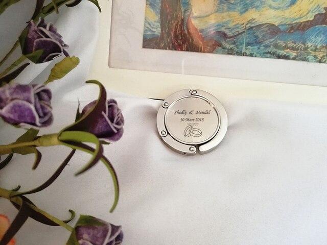 100pcs Lot Custom Wedding Logo Bag Hanger Foldable Handbag Hook Bridal Shower Purse Valet Free Shipping