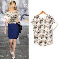 European Plus Size Casual Women Summer Chiffon Shirt Cute Cartoon Printed Short Sleeve Sheer Top For