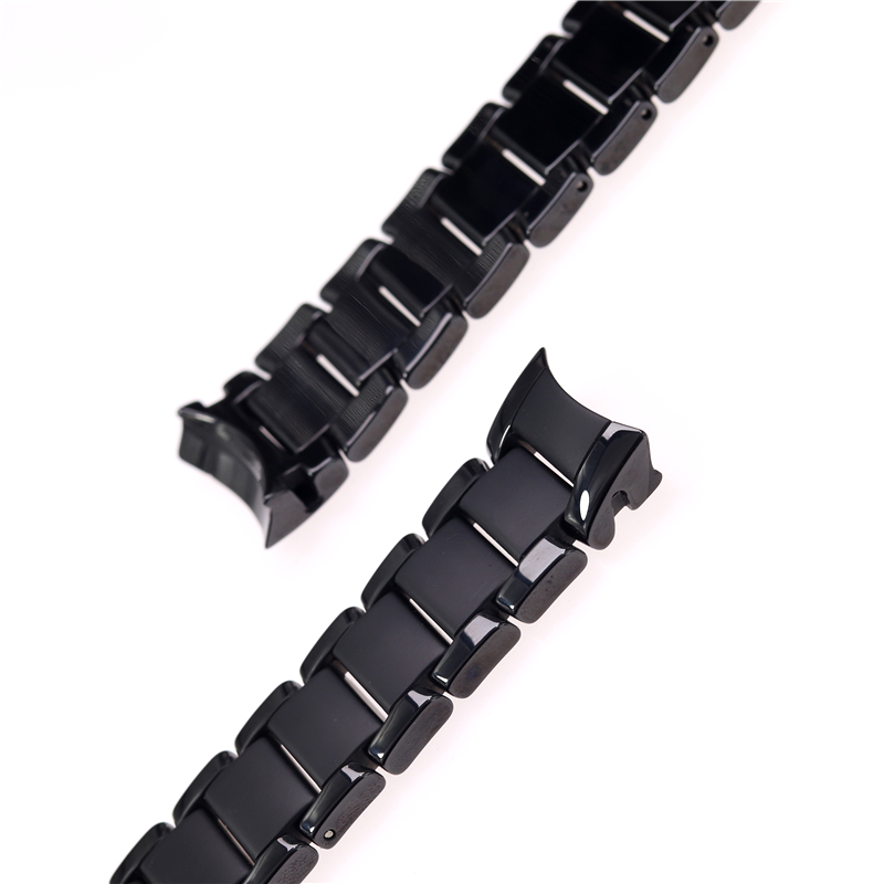 Image 4 - High quality ceramic steel strap 22mm 24mm for Armani watch modelAR1452 AR1451 watchbands black matte strap Replacement bracelet-in Watchbands from Watches