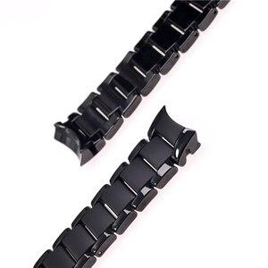 Image 4 - Zubehör keramik stahlband 22mm 24mm für Armani uhr modelAR1452 AR1451 uhrenarmbänder schwarz matte strap Ersatz armband