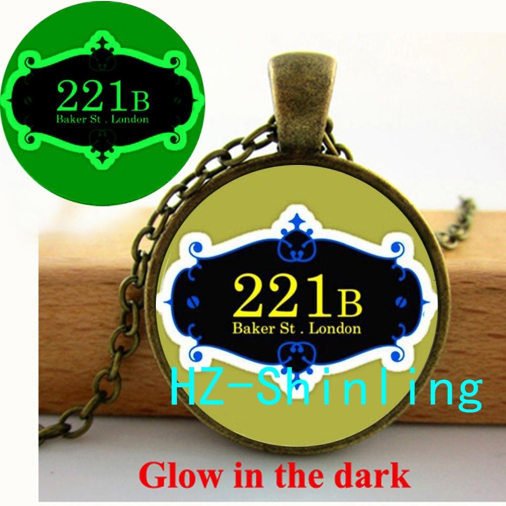 Glowing Jewelry 221B Baker Street Necklace Sherlok Holms Pendant Jewelry Glow in The Dark Pendant Glass Cabochon