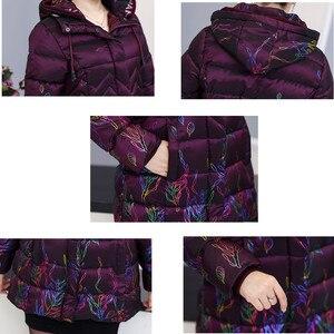 Image 5 - Orta yaşlı Kadın Parka kapitone ceket 2018 Kış Yeni anneler Coat Kapşonlu Kalınlaşma Sıcak Pteris Baskılı Pamuk wadded Ceket