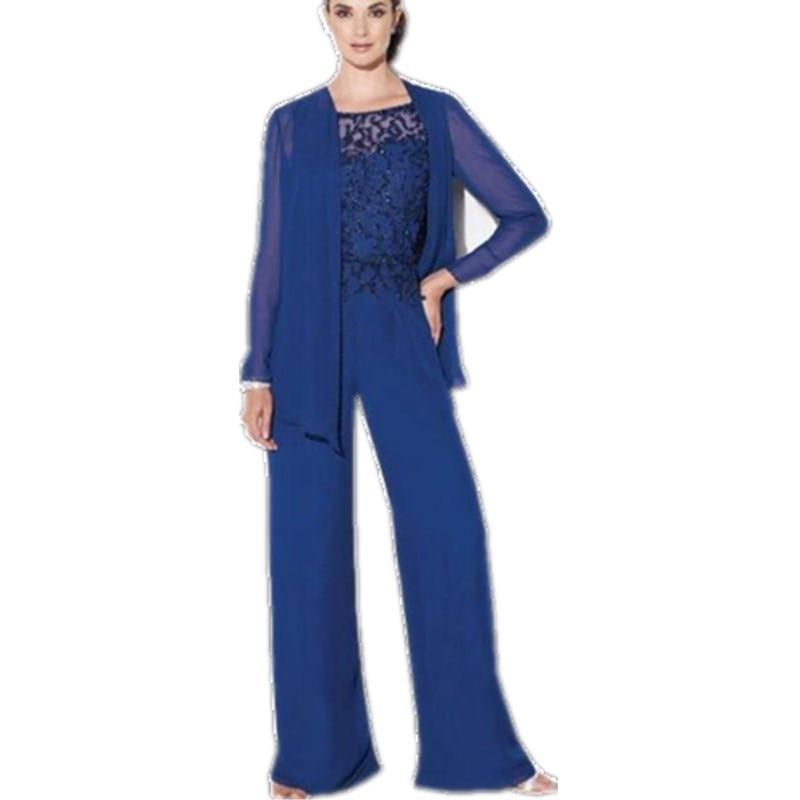 2016 Royal Blue Elegant Mother Of The Bride Pant Suits