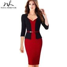 Nice forever elegante chaqueta de imitación para mujer, elegante vestido de trabajo con cuello en V, Bodycon para oficina, manga 3/4, vestido de mujer B328