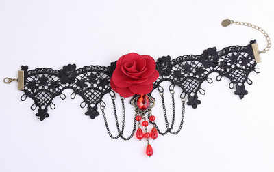 7ddb52e5c7353 ... Vintage Black Lace gothic Choker Necklace jewelry Red Rose Flower  Tattoo Tassel Punk Style Wedding Jewelry