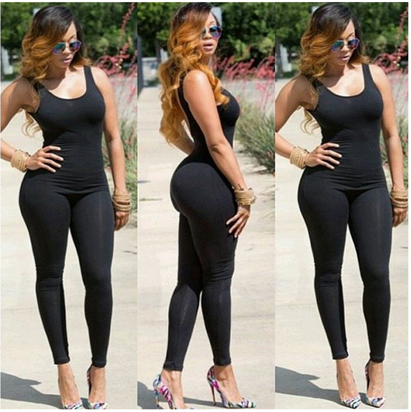 2017 Autumn Winter New Arrival Bodycon Jumpsuit Long Pants Tank Midi Sexy One  Piece Outfits Black Bodysuit Overalls Club Wear