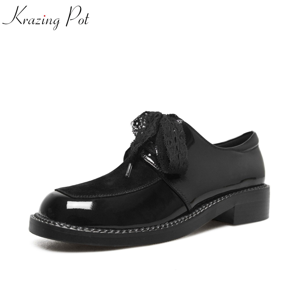 Krazing pot fashion silk lace up solid women shoes square toe simple preppy style med heels pumps concise nude oxford shoes L8 2017 shoes women med heels tassel slip on women pumps solid round toe high quality loafers preppy style lady casual shoes 17