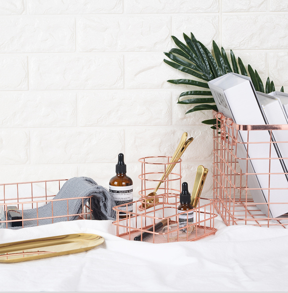 Image 5 - Wrought Iron Storage Basket Rose Gold Storages Pen Holder Desktop Sundries Basket Fruit Basket For Home Storage-in Storage Baskets from Home & Garden