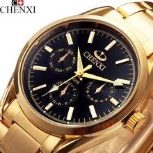 2016 CHENXI Cuarzo de Oro Reloj de Los Hombres de Primeras Marcas de Lujo Relojes de Pulsera de Los Hombres de Oro Reloj Hombre Reloj de cuarzo reloj Relogio Masculino