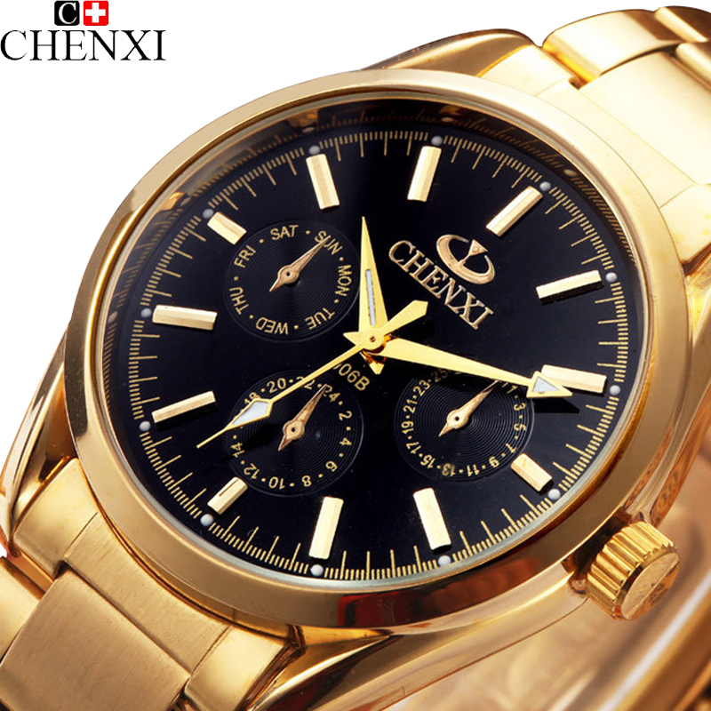 2016 CHENXI Gold Quartz Watch font b Men b font Top Brand Luxury Wrist Watches font