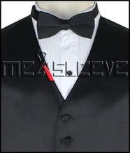 hot sale free shipping plain black tuxedo waistcoat(vest+ascot tie+cufflinks+handkerchief)