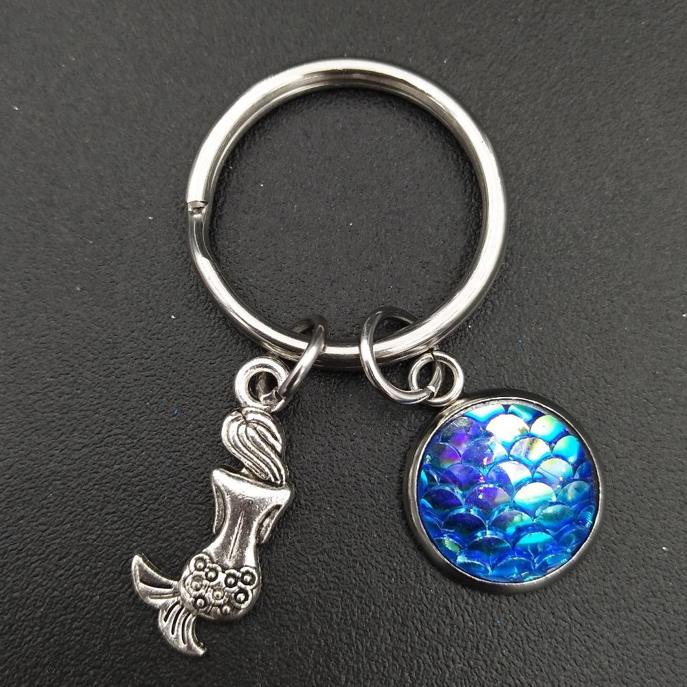 Летний пляжный стиль Русалка и голубые весы очаровательный брелок